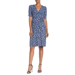 Eliza J Dot Print Ruched Half Sleeve Dress